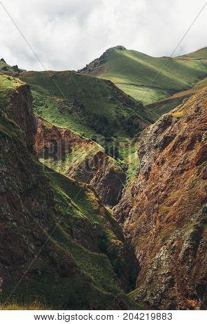 Amazing View Of Mountains In Elbrus Region In Summer. North Caucasus Russia