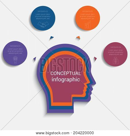 Circles with the text around the head of person template for conceptual infographics 4 positions