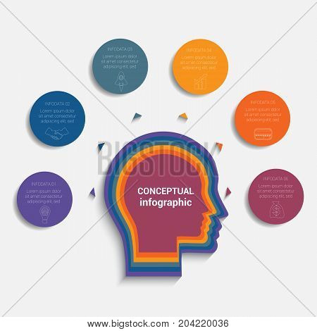 Circles with the text around the head of person template for conceptual infographics 6 positions