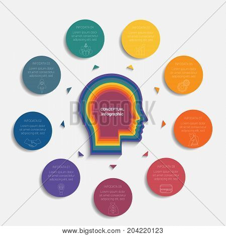 Circles with the text around the head of person template for conceptual infographics 9 positions
