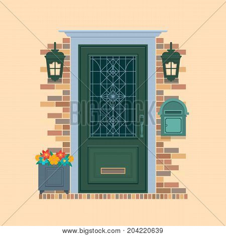 Elements of architecture , front door background.Bouquet flowers in front of house door.Flat vector illustration. Vector illustration