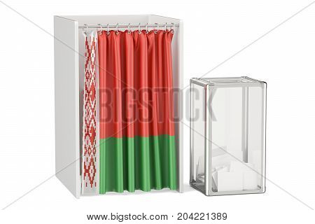 Belorussian election concept ballot box and voting booths with flag of Belarus 3D rendering isolated on white background