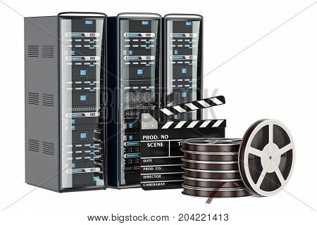 Cinema Server concept. Computer Server Racks with film reel and clapperboard 3D rendering