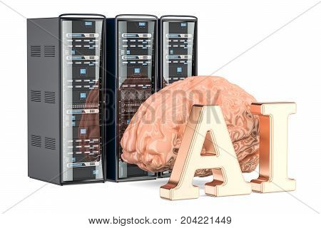 Computer Server Racks AI concept 3D rendering isolated on white background
