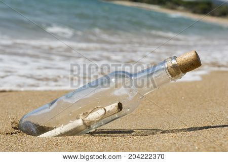 Message in a bottle close up, selective focus