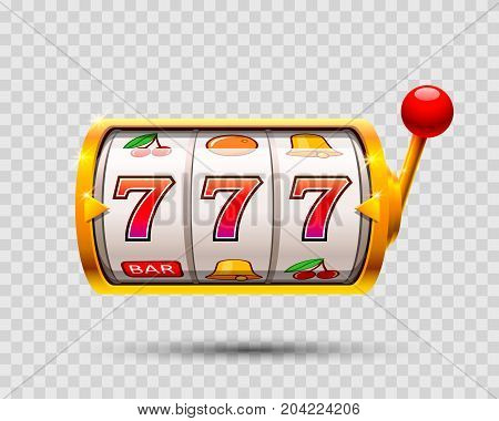 Golden slot machine wins the jackpot . Vector illustration isolated on a transparent background