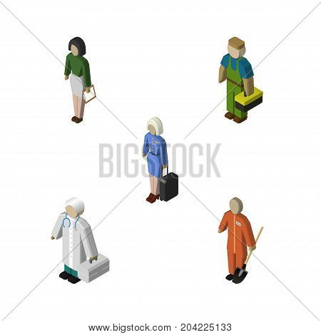 Isometric Person Set Of Cleaner, Pedagogue, Hostess And Other Vector Objects