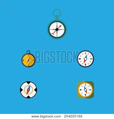 Flat Icon Direction Set Of Compass, Instrument, Navigation And Other Vector Objects