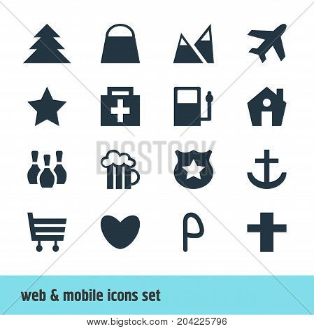 Editable Pack Of Refueling, Landscape, Jungle Elements.  Vector Illustration Of 16 Map Icons.