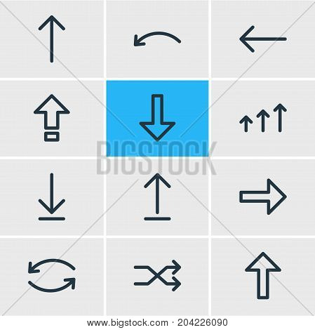 Editable Pack Of Update, Upwards, Submit And Other Elements.  Vector Illustration Of 12 Sign Icons.