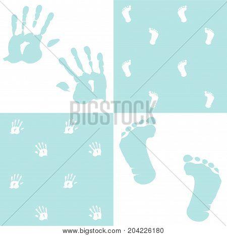 blue color, baby boy, handprint, footprint, vector set