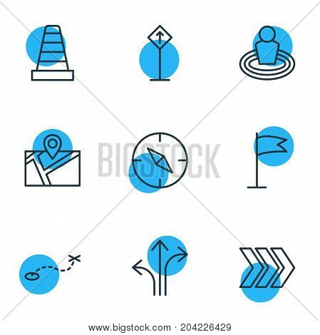 Editable Pack Of Compass, Pennant, Path And Other Elements.  Vector Illustration Of 9 Location Icons.