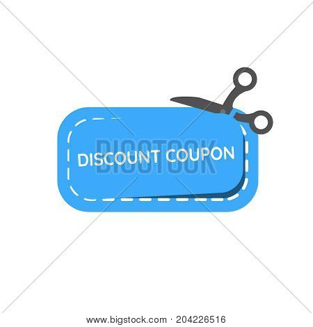 Discount coupon icon flat vector illustration. Blue discount coupon with scissors on the isolated white background