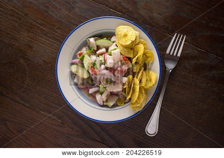 Chilled spicy ceviche with crispy fried plantain chips