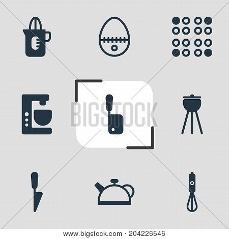 Editable Pack Of Butcher Knife, Barbecue, Teakettle And Other Elements.  Vector Illustration Of 9 Cooking Icons.