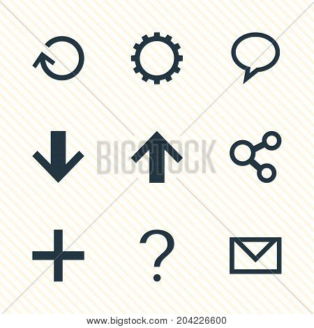 Editable Pack Of Help, Downward, Renovate And Other Elements.  Vector Illustration Of 9 Interface Icons.