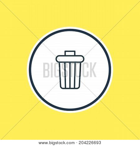 Beautiful Tools Element Also Can Be Used As Garbage Container Element.  Vector Illustration Of Trash Bin Outline.