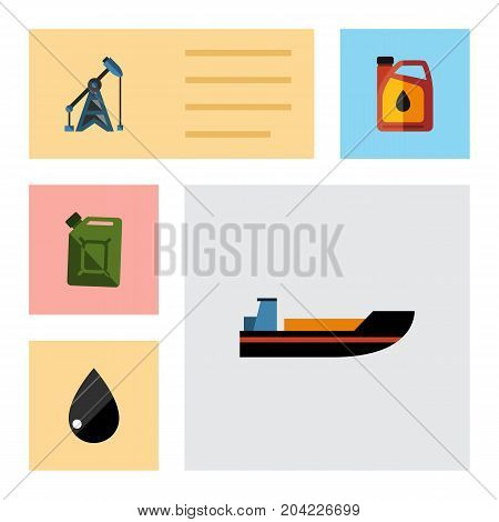 Flat Icon Petrol Set Of Fuel Canister, Boat, Droplet And Other Vector Objects