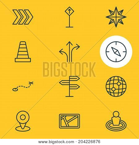 Editable Pack Of Compass, Map, Direction And Other Elements.  Vector Illustration Of 12 Location Icons.