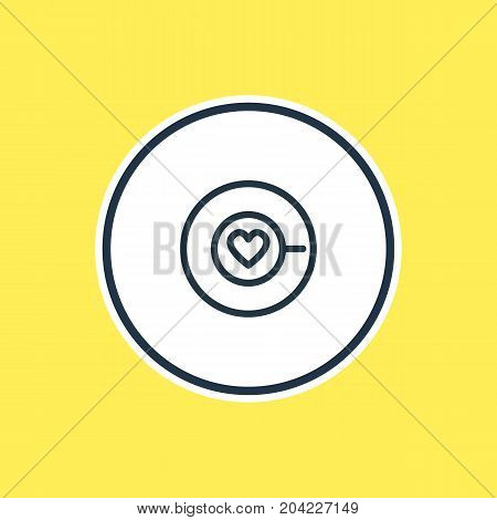 Beautiful Drink Element Also Can Be Used As Saucer Element.  Vector Illustration Of Cappuccino Outline.