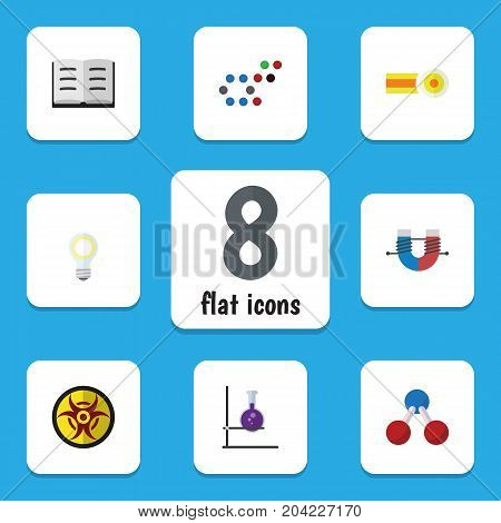Flat Icon Science Set Of Chemical, Lecture, Danger And Other Vector Objects