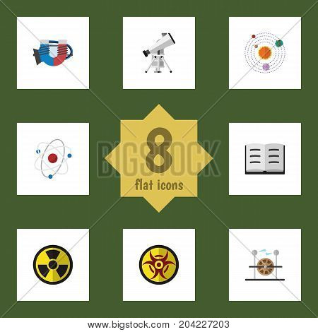 Flat Icon Science Set Of Scope, Lecture, Irradiation And Other Vector Objects