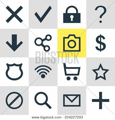 Editable Pack Of Snapshot, Plus, Shield And Other Elements.  Vector Illustration Of 16 User Icons.