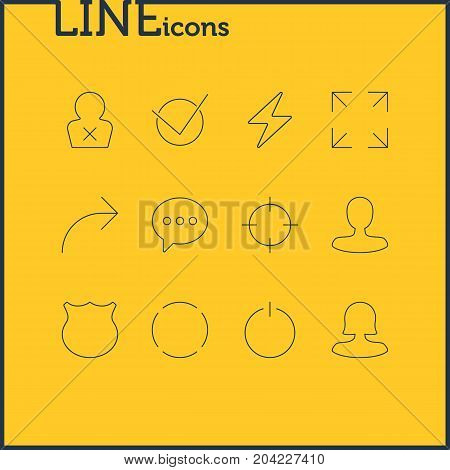 Editable Pack Of Man Member, Repeat, Switch Off And Other Elements.  Vector Illustration Of 12 User Icons.
