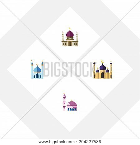 Flat Icon Mosque Set Of Mosque, Building, Traditional And Other Vector Objects