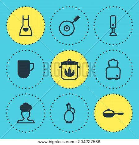 Editable Pack Of Skillet, Stewpot, Carafe And Other Elements.  Vector Illustration Of 9 Restaurant Icons.