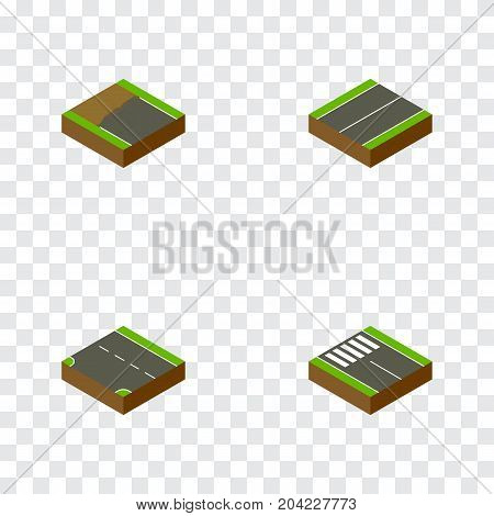 Isometric Road Set Of Downward, Plane, Strip And Other Vector Objects