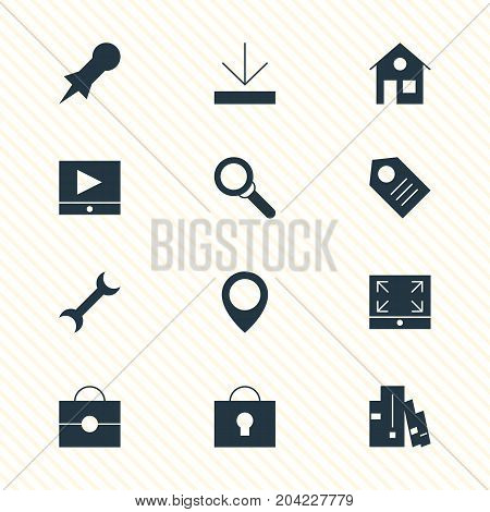 Editable Pack Of Maximize, Magnifier, Play Button And Other Elements.  Vector Illustration Of 12 Web Icons.