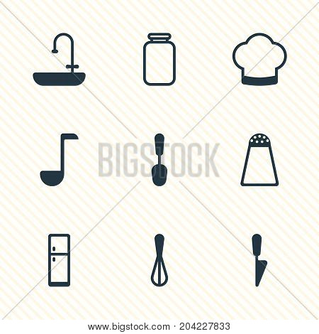 Editable Pack Of Pepper Container, Chef, Soup Spoon And Other Elements.  Vector Illustration Of 9 Kitchenware Icons.