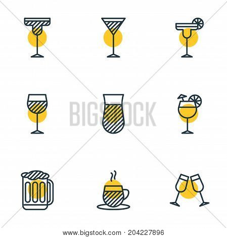 Editable Pack Of Draught, Martini, Margarita And Other Elements.  Vector Illustration Of 9 Beverage Icons.