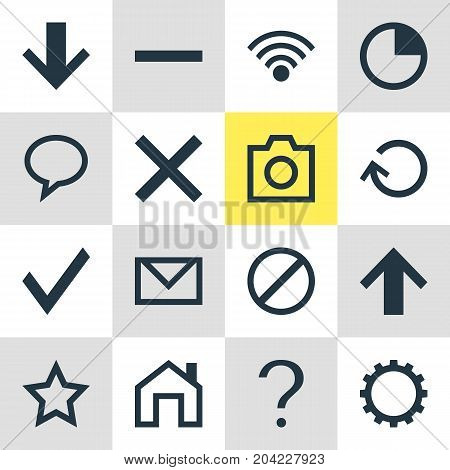 Editable Pack Of Top, Snapshot, Access Denied And Other Elements.  Vector Illustration Of 16 Interface Icons.