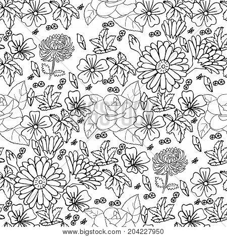 Rose camellia chrysanthemum leaves daisy mallow calendula hand drawn pattern on white.