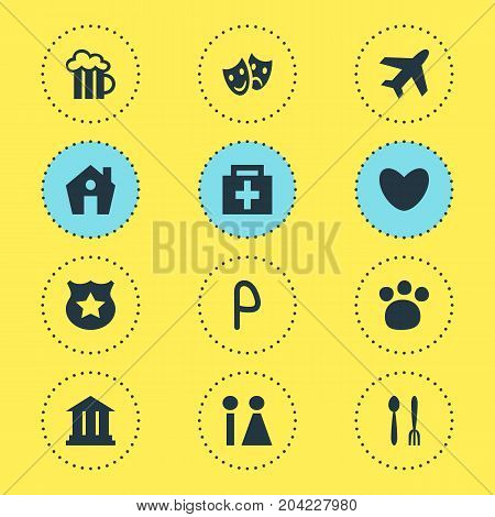 Editable Pack Of Cafe, Home, Masks And Other Elements.  Vector Illustration Of 12 Check-In Icons.