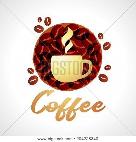 Coffee icon vector illustration, emblem design hot coffe cup on brown grain background. Coffe Grace cafe logo