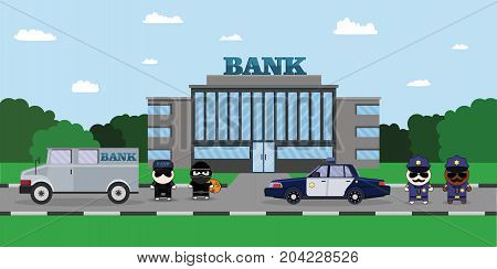 Illustration of a Policeman Chasing a Thief with Stolen Bag. Bank Security Finance Service. Sheriffs car and Cartoon 2d Collector characters.
