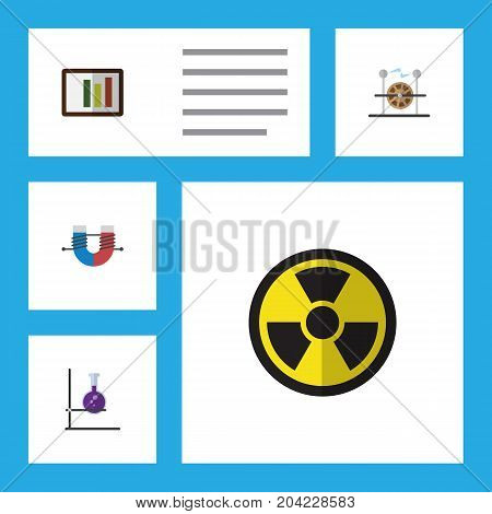 Flat Icon Science Set Of Irradiation, Diagram, Flask And Other Vector Objects