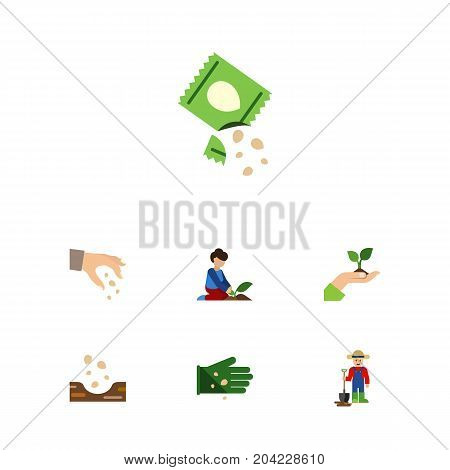 Flat Icon Plant Set Of Florist, Sow, Man And Other Vector Objects