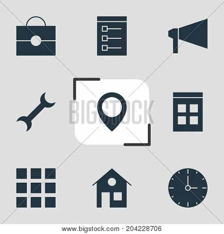 Editable Pack Of Date Time, Map Pointer, Bullhorn And Other Elements.  Vector Illustration Of 9 Internet Icons.