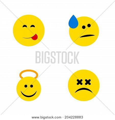 Flat Icon Expression Set Of Cross-Eyed Face, Angel, Delicious Food And Other Vector Objects