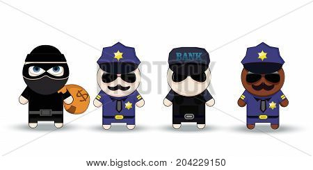 Thief with Stolen Bag, Policeman and Bank security officer, cartoon characters