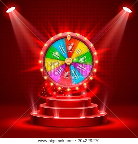 Wheel of fortune on the catwalk. isolated on red background. Vector illustration