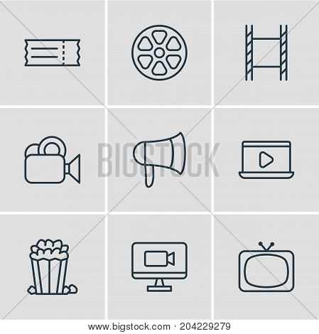 Editable Pack Of Tv, Monitor, Megaphone And Other Elements.  Vector Illustration Of 9 Movie Icons.