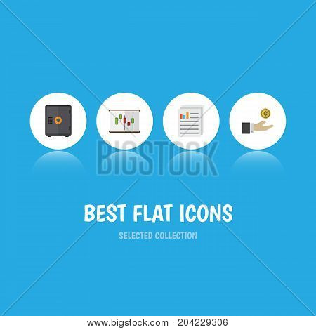 Flat Icon Gain Set Of Strongbox, Hand With Coin, Diagram Vector Objects