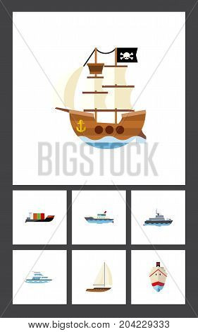 Flat Icon Boat Set Of Sailboat, Ship, Delivery And Other Vector Objects