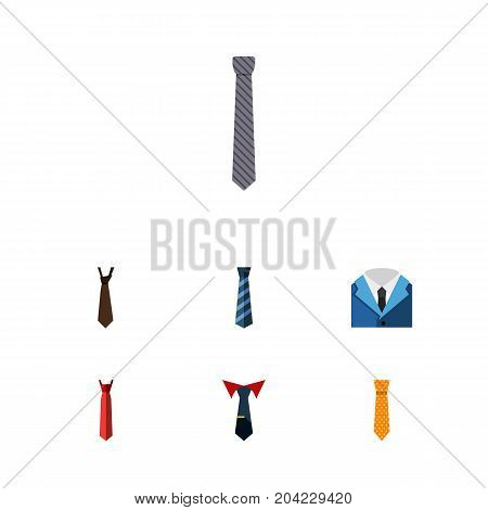 Flat Icon Tie Set Of Tie, Clothing, Style And Other Vector Objects