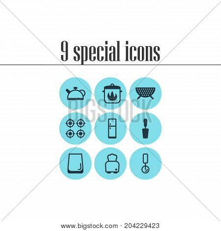Editable Pack Of Sieve, Bread, Teakettle And Other Elements.  Vector Illustration Of 9 Cooking Icons.